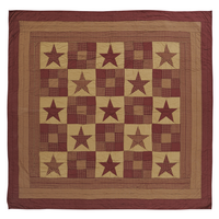 Ninepatch Star Burgundy & Tan Queen Quilt - Classic Patchwork - Vhc Brands