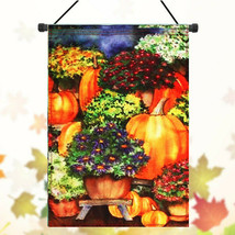 28''x40'' Pumpkin & Mums Fall Garden Flag Seasonal Yard Banner Autumn - $16.22