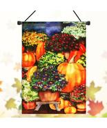 28''x40'' Pumpkin & Mums Fall Garden Flag Seasonal Yard Banner Autumn - $16.22