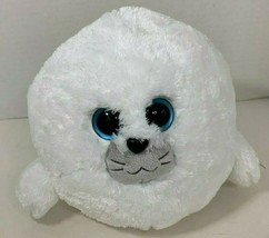 Ty Beanie Ballz Medium size White Seymour the Seal Plush big blue eyes  ... - $12.86
