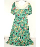 Vtg Dress STUDIO C Sz 14 Green Floral Lace Boho farmgirl prarie NOS Rayon  - $79.13