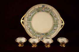 Pickard China Tray Signed Rawlins Salt Dishes gold pedestal Maiden Sailb... - €113,05 EUR