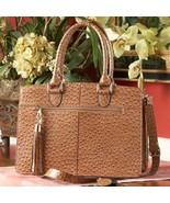 Concealed Carry Ostrich Print Leather Computer Handbag Gun Purse - $339.99