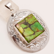Natural Australian Copprt Green Turquoise Sterling Silver Antique Retro Jewelry - $30.24