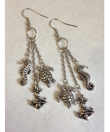 Seahorse Anchor Sea Turtle Earrings Silver Plated Handmade Unique Pierce... - $38.00
