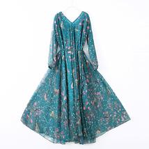 Long Sleeve Plus Size Floral Chiffon Dress Lady Maxi Long Chiffon Flower Dress   image 9