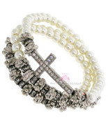 Ornate Elegant Believer's Cross Three Strand Wrap Bead Beaded Stretch Br... - $20.99
