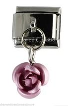 Pink Rose Bud Flower 9mm Italian Charm Stainless Steel Modular Dangle Link - $7.91