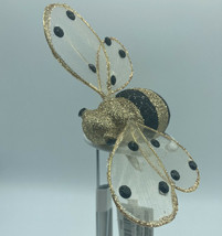 Honey Bee with Clip Christmas Ornaments Kurt Adler Gold with Black Dots NEW - $11.28
