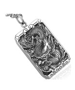 Men Dragon Square Pendant Necklace Sterling Silver Carve Buddhism Vintag... - $117.79+