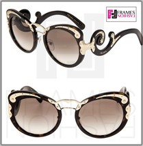 Prada Wanderer Baroque 07T Swirl Gold Dark Brown Havana Sunglasses PR07TS Women - $266.41