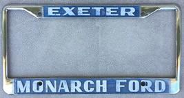 Exeter Monarch Ford Dealership License Plate Frame Embossed Metal Holder Tag - $14.95