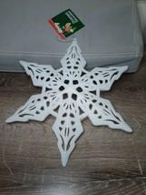 (1) Christmas House White Glittery star Ornament Decoration - $11.83