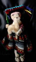 "Vintage South American Cloth Folk Art Doll Peru Mexico 10"" with Baby - $19.79"