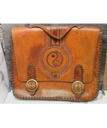 XL Vtg 1960/70s Leather Portfolio Case Hand Made Tooled Hippie Boho Ying... - $146.52