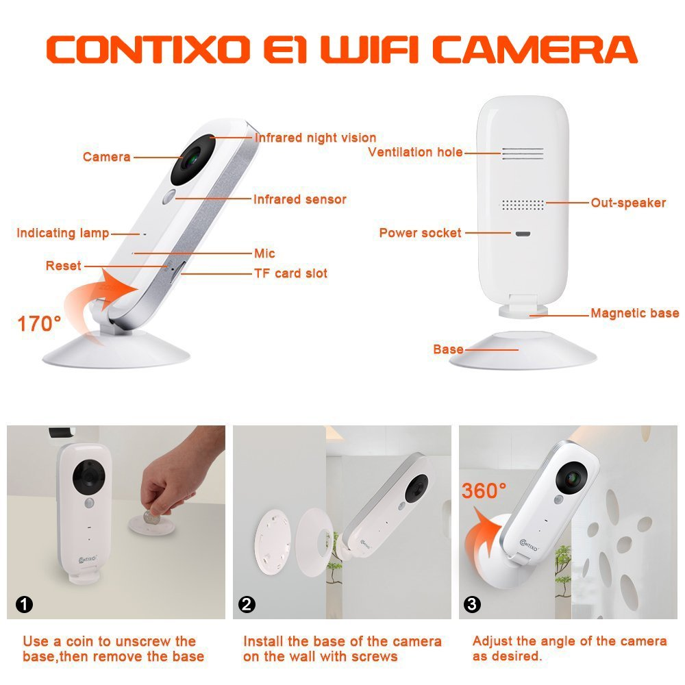 Contixo 720P HD WiFi Wireless Smart Security Camera Two-Way Audio and Night Visi
