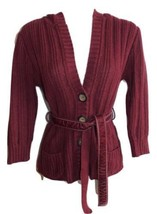Aeropostale Size M Maroon Cozy Warm Hooded Cardigan Sweater - $12.19