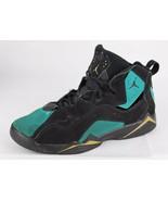 Jordan Retro basketball youth kids leather black green laces size 6 - $24.11