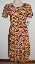 New LuLaRoe Dress Amelia Pink Yellow Short Sleeve Pleated A-Line Zipper Large - $30.84