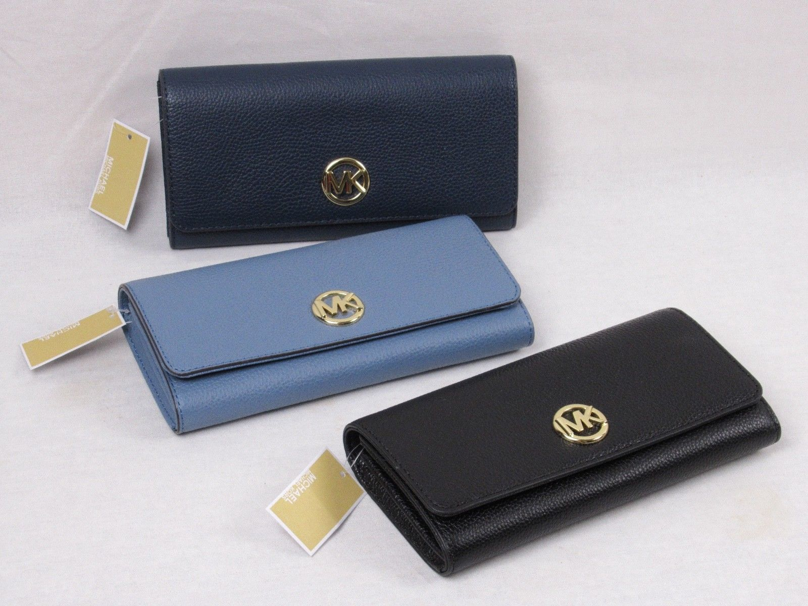 d269b84307cb 57. 57. Previous. MICHAEL KORS NEW PEBBLED LEATHER FULTON FLAP CONTINENTAL  WALLET VARIOUS COLORS