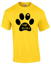 Fur Mama Paw Print Love Daisy Yellow T-Shirt Black Graphic Sizes Small u... - $10.00+