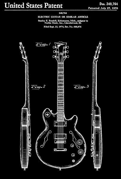 Primary image for 1976 - Norlin Electric Guitar - S. E. Rendell - Patent Art Poster