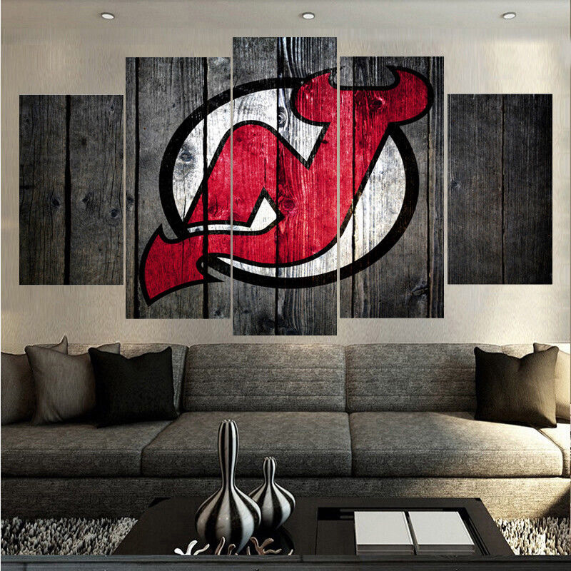 New Jersey Home Painting From J S Painting: Framed 5 Pcs New Jersey Devils Hockey Painting Print