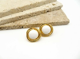 Vintage Signed Trifari White Glass Dome Gold Tone Twist Clip On Earrings... - $18.99