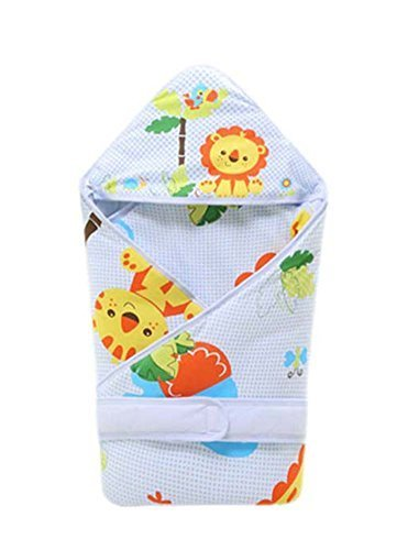 PANDA SUPERSTORE Soft and Warm Animal Pattern Cotton Baby Swaddle Blankets Blue