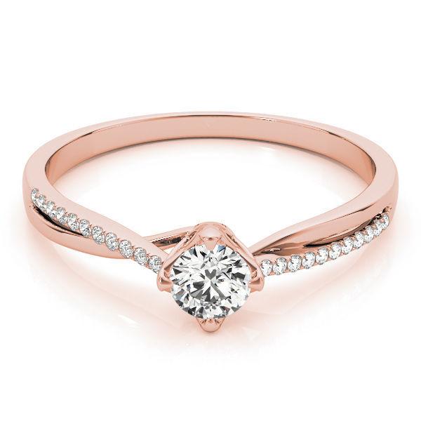 1/4 Carat Diamond Swirl Petite Engagement Ring in Rose Gold
