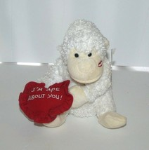 """Boyds Bears & Friends White Gorilla Red Heart I'm Ape About You Plush 5""""... - $11.02"""