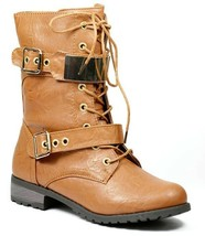 Cognac Brown Faux Leather Lace Up Buckle Straps Military Mid Calf Combat Boot - $14.99