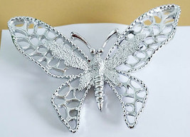 """Sarah Coventry Butterfly Silver Tone Vintage Signed Brooch Pin 2.5"""" x 1.75"""" - $17.81"""