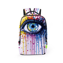 3d colorful big eye print creative students school leisure back bag - $26.00