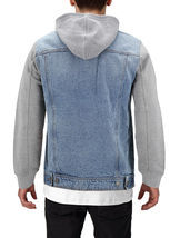 Men's Two Tone Jean And Grey Jersey with Removable Hood Denim Trucker Jacket image 4