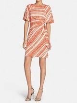 Tahari ASL Petite Dress Sz 2P Khaki Tangerine Orange Flutter Sleeve Prin... - $68.17