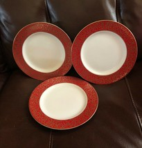 "Mikasa Parchment Red Set Of 3 Fine China 8.25"" Salad Plates L3471 New - $29.99"
