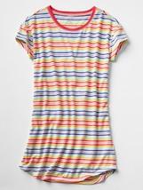 Gap Kids Girl Dress Nightgown 8 Rainbow Multicolor Striped Short Sleeve New - $19.99
