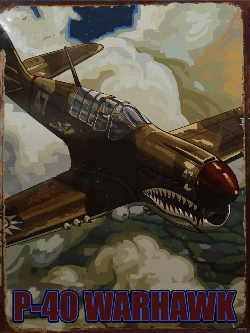 P-40 Warhawk Fighter Plane Metal Sign