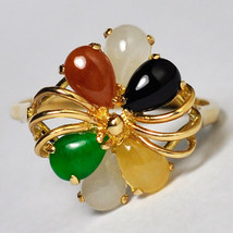 Multicolor Opal Cluster Flower Cocktail Ring Womens 14K Yellow Gold Cust... - $169.00