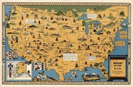 Indianer der USA Tribes Mitte des Jahrhunderts Pictorial Karte wand-poster - $12.79+