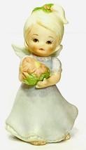 "VTG Lefton Christmas Angel Miniature 2.75"" Figurine Holding Flower Bouqu... - $14.96"