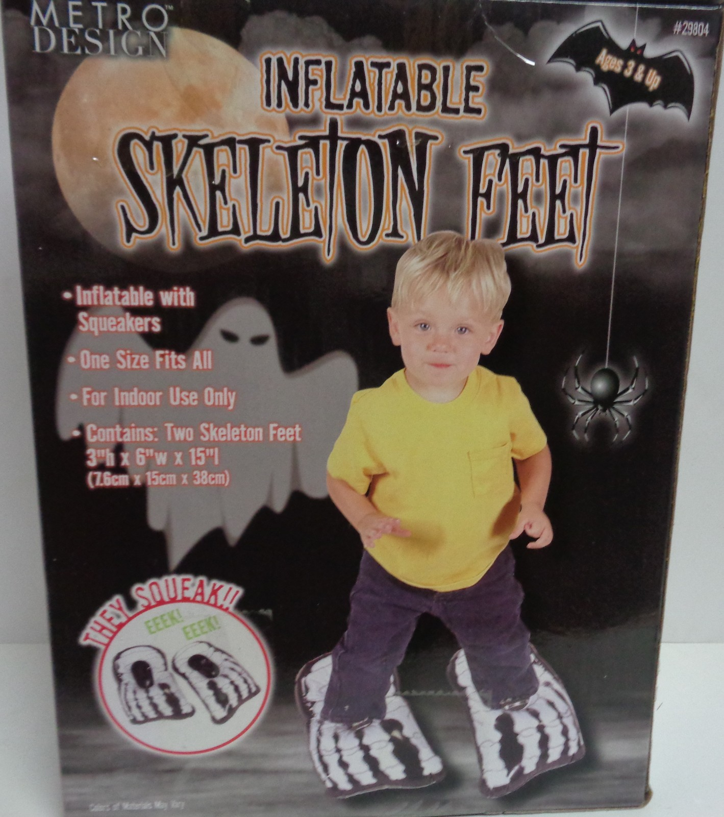 "Inflatable Skeleton Feet With Squeakers Costume NIB 3""H x 6"" W x 15"" L"