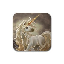 Cute Young Unicorn Animal (Square) Rubber Coaster - $1.99