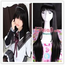75cm Akemi Homura Puella Long Straight black COS cosplay hair wig CB14 - $17.75
