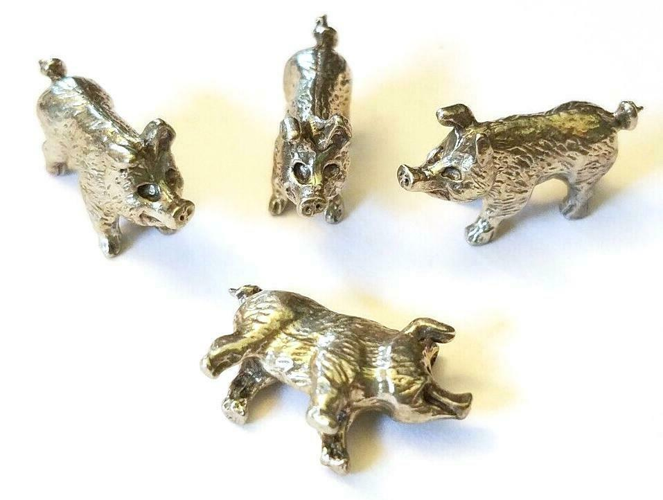 PIG FIGURINE CAST WITH FINE PEWTER - Approx. 1/2 inches tall  (T153)