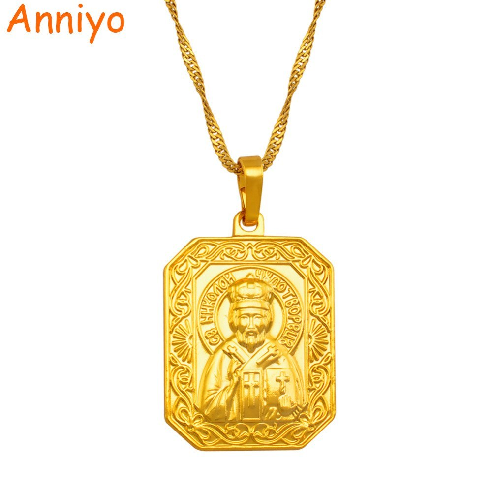 Primary image for Saint Nicholas Patron Saint Necklace Orthodox Christianity Pendant