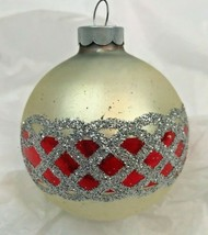 Vintage Glass Christmas Ornament Tree Ball Glitter White Hand Painted Rauch USA - $9.89