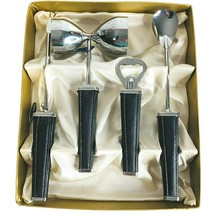 New Vintage SWANK Ascot Bar Set Black Leather Silver 4 Piece Barware Mad... - $44.50