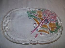 Mikasa Oval Cookie Candy Sandwich Dish Festive Bells Pine Cone Ribbon 1980 - $10.00